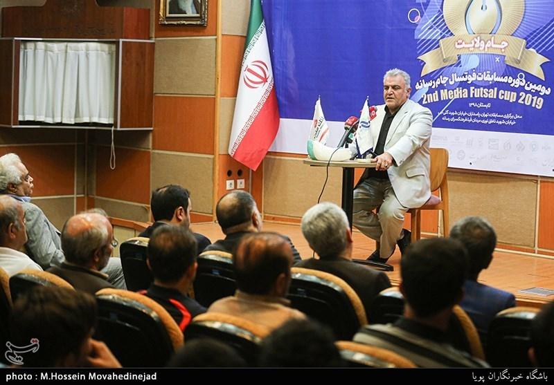 سخنرانی محمد عزیزی دبیر اجرایی مسابقات فوتسال جام رسانه ها