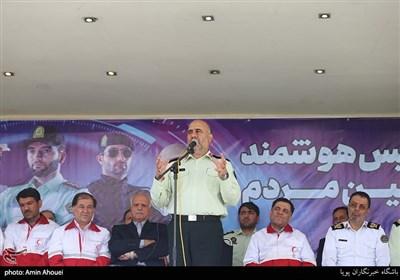 سخنرانی سردار حسین رحیمی در رزمایش مشترک هلال احمر و نیروی انتظامی
