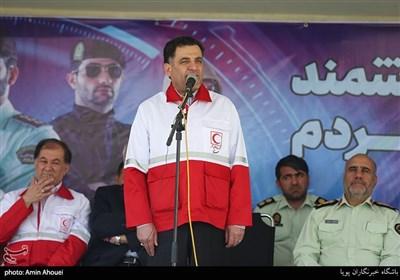 سخنرانی علی اصغر پیوندی رئیس سازمان هلال احمر در رزمایش مشترک هلال احمر و نیروی انتظامی