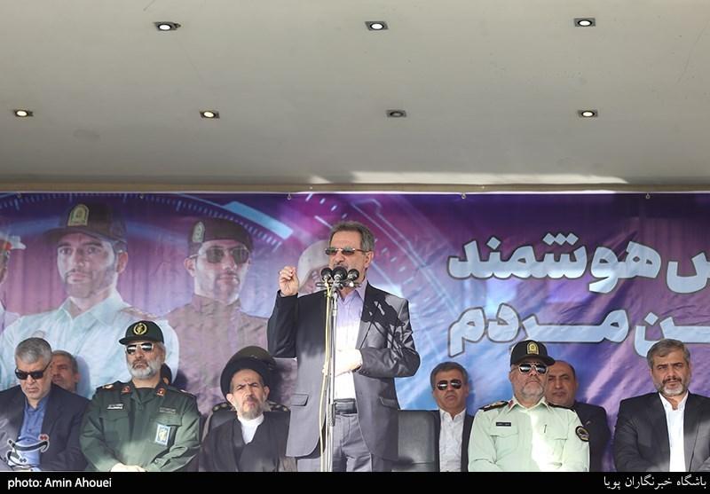 سخنرانی انوشیروان محسنی بندپی استاندار تهران در صبحگاه عمومی نیروی انتظامی
