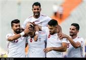شادی بازیکنان تیم ملی فوتبال ایران پس از به ثمر رساندن گل