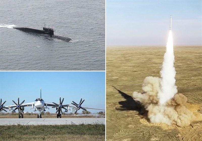 پرتاب موشکهای کروز و بالستیک در مانور نیروهای راهبردی روسیه + فیلم