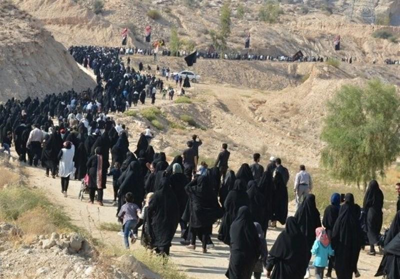 اخبار اربعین 98| هزاران عزادار دَیری و جمی در پیادهروی جاماندگان اربعین حسینی شرکت کردند