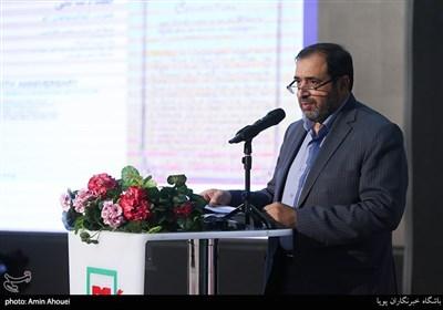 سخنرانی علی اصغر جعفری مدیر عامل باغ موزه انقلاب اسلامی و دفاع مقدس در افتتاحیه نمایشگاه عکس ۷۰ سالگی تصویب کنوانسیون های ژنو