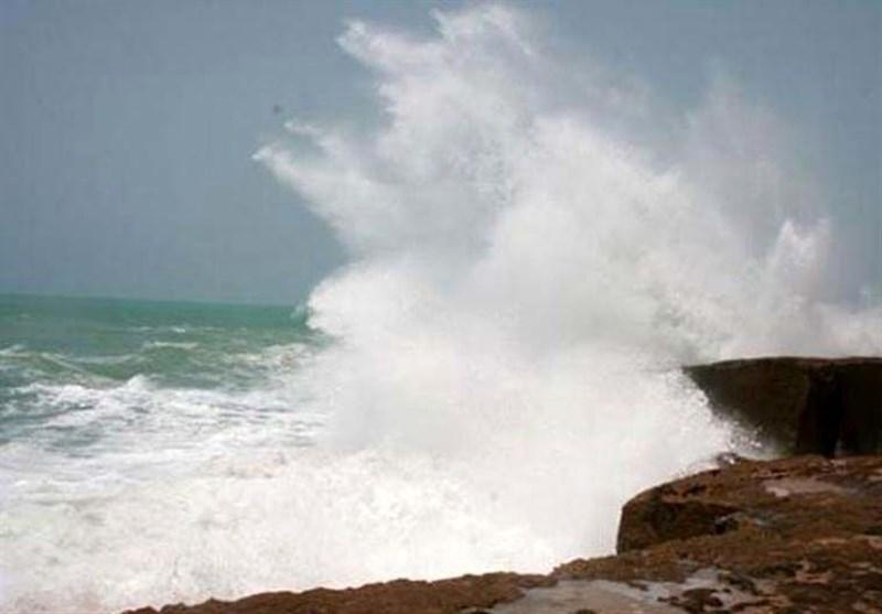 بوشهر| سرعت وزش باد شمال خلیج فارس را متلاطم میکند