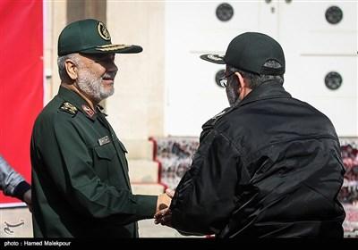 سرلشکر حسین سلامی فرمانده کل سپاه در مراسم رونمایی از دیوارنگارههای جدید لانه جاسوسی سابق آمریکا
