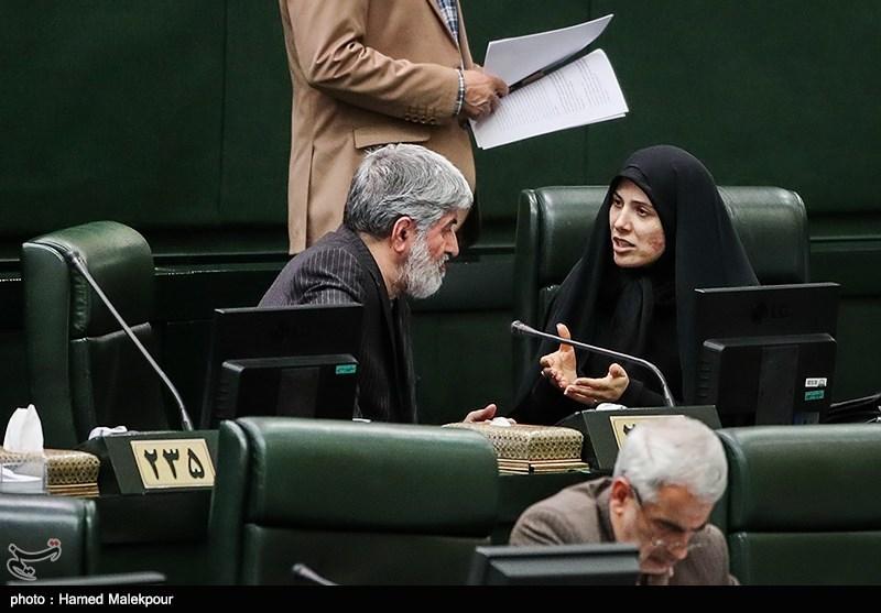 سیده فاطمه حسینی و علی مطهری در جلسه علنی مجلس شورای اسلامی