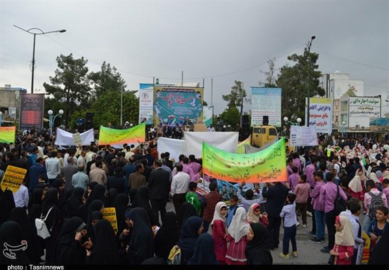 حضور پرشور مردم شهرستانهای خراسان رضوی در راهپیمایی 13 آبان + فیلم
