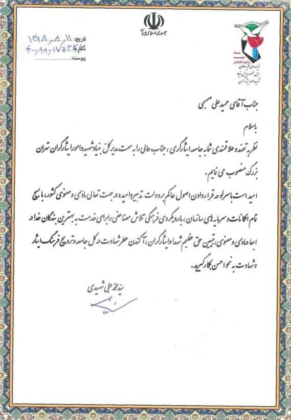 بنیاد شهید و امور ایثارگران , سیدمحمدعلی شهیدی ,