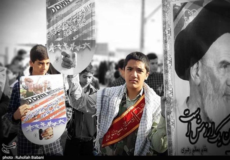 برپایی راهپیمایی 13 آبان در کاشان به روایت تصویر