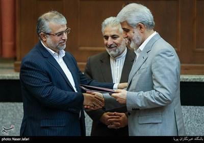 محمدجواد حشمتی و عباس پوریانی در مراسم تکریم و معارفه رئیس کل دادگاه های عمومی و انقلاب تهران