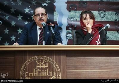آلکسیس باندریچ وگا سفیر کشور کوبا و رومینا پرز راموس سفیر کشور بولیوی در مراسم پنجمین همایش زنده باد مرگ بر آمریکا