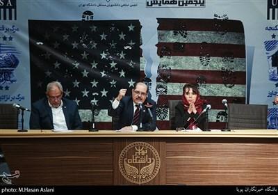 آلکسیس باندریچ وگا سفیر کشور کوبا، مارکو بارکرو بالتودونو سفیرکشور نیکاراگوئه و رومینا پرز راموس سفیر کشور بولیوی در مراسم پنجمین همایش زنده باد مرگ بر آمریکا