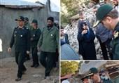 حضور فرمانده سپاه عاشورا در مناطق زلزلهزده / امدادرسانی بسیجیان به مردم بعد از زلزله