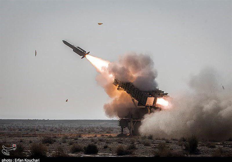 رزمایش پدافند هوایی  مقابله با پهپاد و موشک کروز توسط سامانه موشکی مرصاد