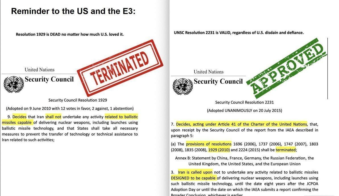 تحولات برنامه موشکی ایران , محمدجواد ظریف , اتحادیه اروپا , شورای امنیت سازمان ملل متحد ,