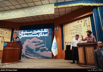 صحبت اعتراضی یکی از دانشجویان در مراسم گرامیداشت روز دانشجو در دانشگاه تهران