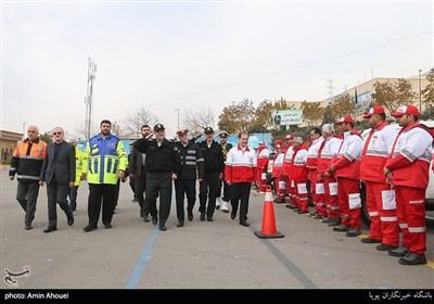 سردار حسین اشتری فرمانده نیروی انتظامی در رزمایش طرح ترافیکی زمستانی 98