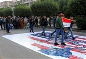 پرچم آمریکا و اسرائیل زیر پای تظاهراتکنندگان عراقی+فیلم