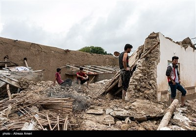 خسارات سیل در روستای کندعبدالرضا - لامرد