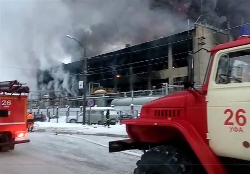 مهار آتش سوزی یک کارخانه پتروشیمی در روسیه