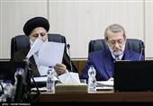 علی لاریجانی رئیس مجلس شورای اسلامی و حجتالاسلام سیدابراهیم رئیسی رئیس قوه قضاییه در جلسه مجمع تشخیص مصلحت نظام