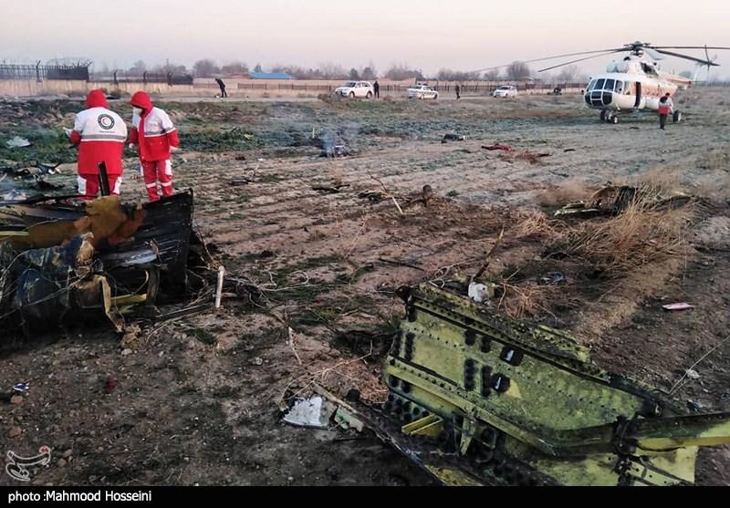 Rescue Teams Work amid Debris after Ukrainian Plane Crashed Near Tehran