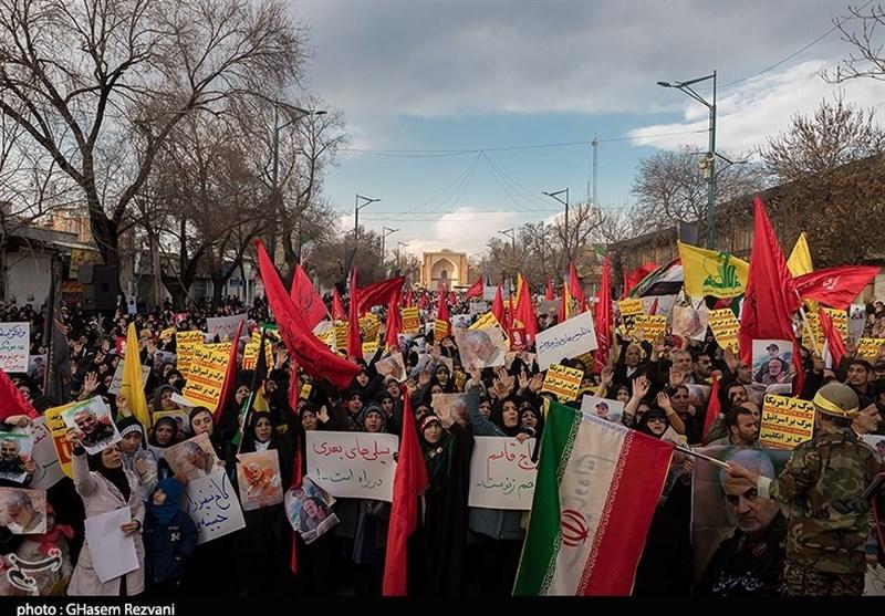 انتقام سخت ـ تصویر| حضور حماسی مردم قزوین در مراسم گرامیداشت هفتمین روز شهادت حاج قاسم