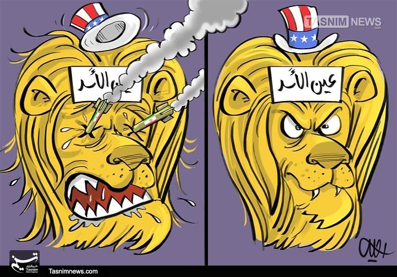کاریکاتور/ پایگاه عین الاسد پس از حمله موشکی ایران
