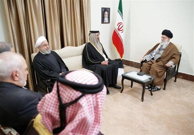 رهبر معظم انقلاب در دیدار امیر قطر: علت وضع نامناسب منطقه فسادانگیزی آمریکا و رفقای آن است