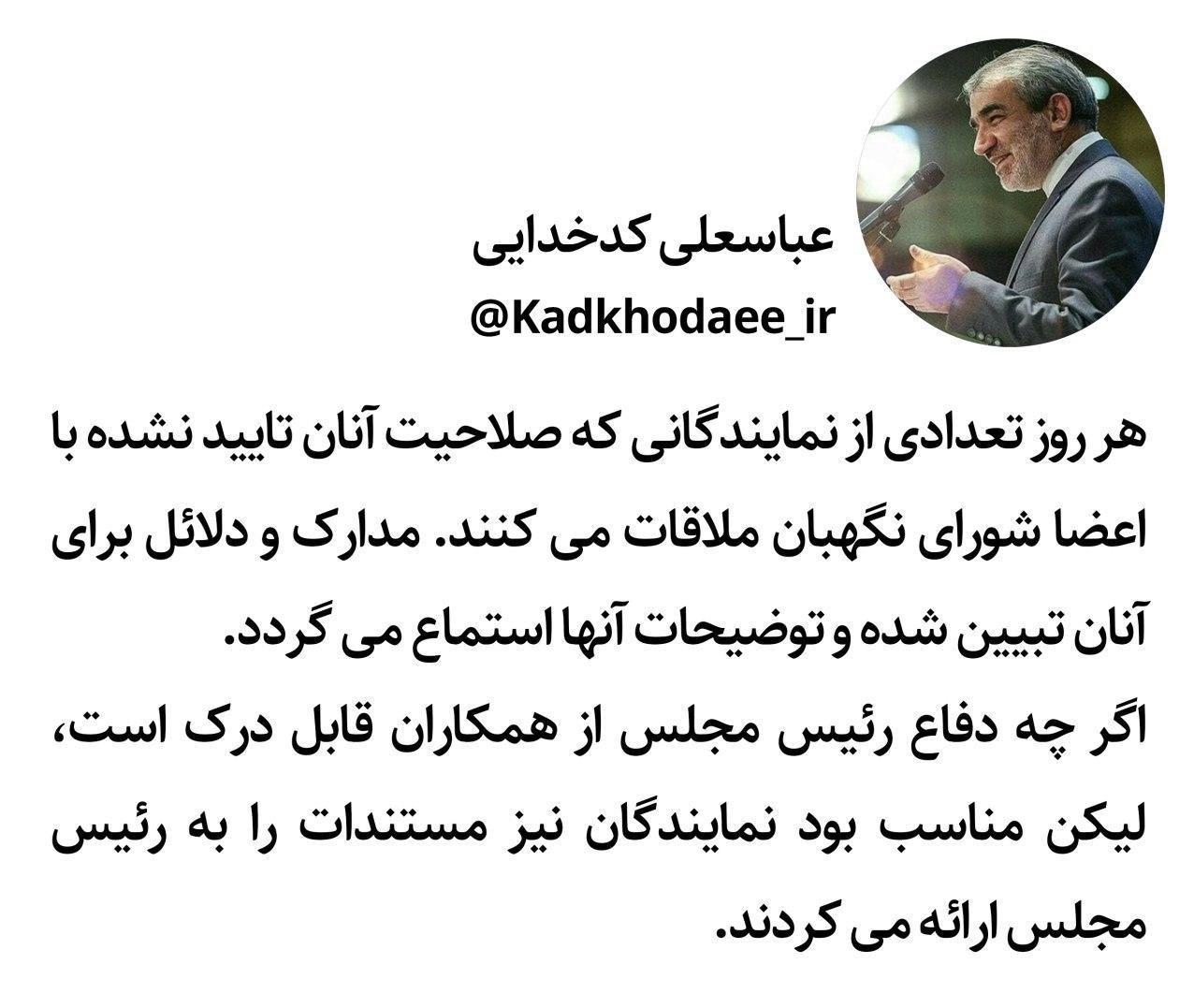 عباسعلی کدخدایی , شورای نگهبان , حقوقدانان شورای نگهبان , سخنگوی شورای نگهبان ,