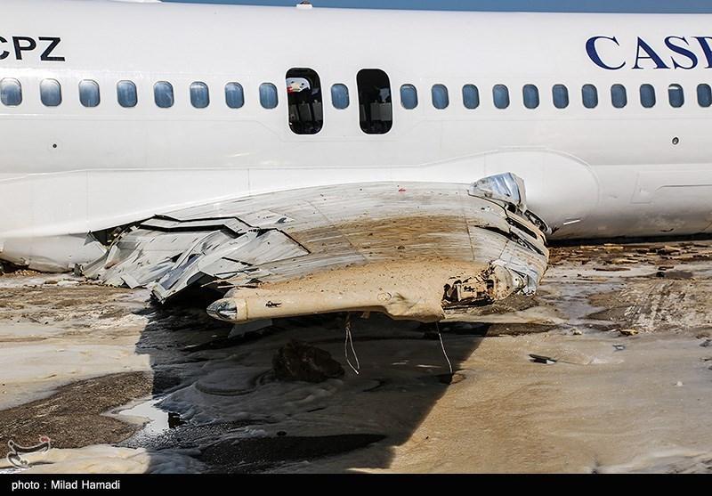 تصاویری از هواپیمای کاسپین پس از خروج از باند فرودگاه بندرماهشهر