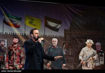 اجرای محسن توسلی خواننده در مراسم گرامیداشت شهید حسن شاطری و شهدای جبهه مقاومت