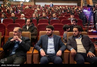 مهدی قمی رییس فرهنگسرای ابن سینا در مراسم گرامیداشت شهید حسن شاطری و شهدای جبهه مقاومت