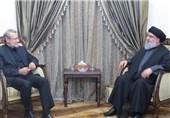 دیدار سید حسن نصرالله و النخاله با لاریجانی در بیروت