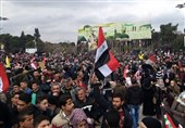 Syrian people celebrate army victories in Aleppo's central square