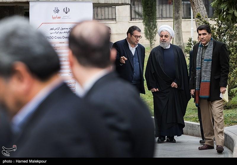 ورود حجتالاسلام حسن روحانی رئیسجمهور به مراسم رونمایی از چهار خودرو تولید داخل