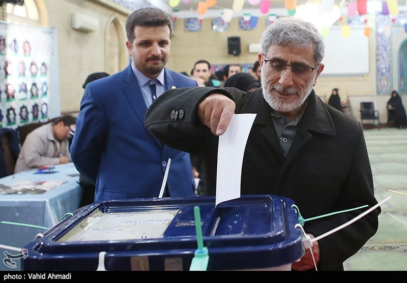 Esmail Ghaani, the commander of the Revolutionary Guards' Qods Force, submitted his ballot in Tehran