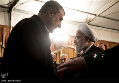 حسن روحانی رییس جمهور و محمد اسلامی در آئین افتتاح فاز یک آزادراه تهران-شمال