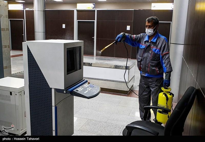 ضدعفونی کردن فرودگاه کیش برای پیشگیری از شیوع کرونا