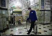 ضدعفونی کردن حرم حضرت فاطمه معصومه(س) به روایت تصویر