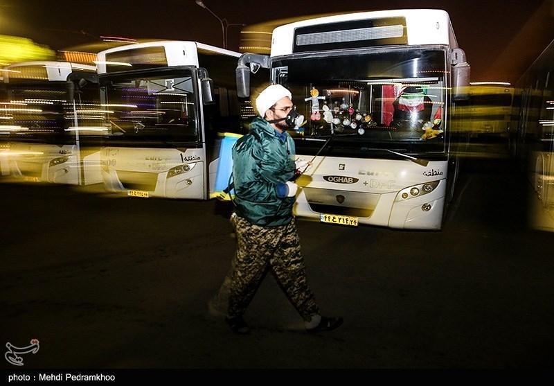 عملیات گسترده ضد عفونی کردن بزرگترین ناوگان اتوبوسرانی خاورمیانه