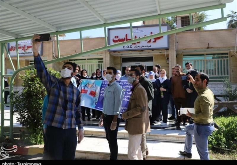 جمعی از دانشجویان بسیجی خوزستان از مدافعان سلامت بیمارستان رازی اهواز تجلیل کردند + تصاویر