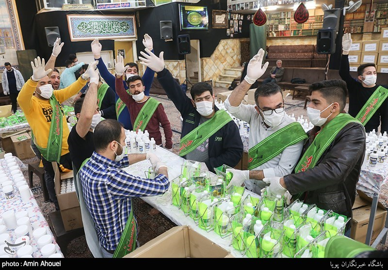 A charity group distributed sanitary supplies in Tehran.