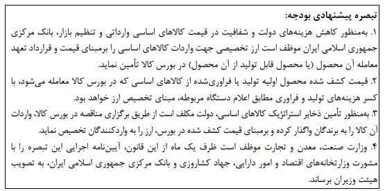 مرکز پژوهشهای مجلس شورای اسلامی , کالاهای اساسی ,