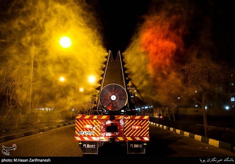 A firetruck disinfected a street in Tehran