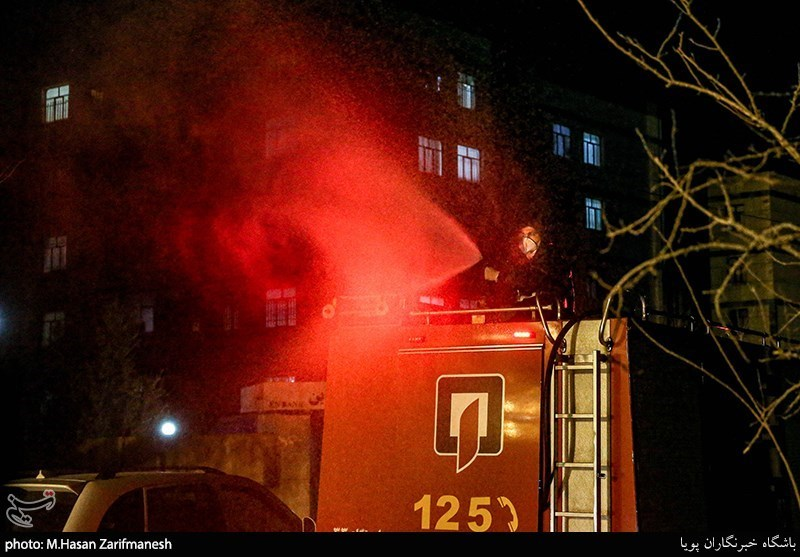 Iranian Firefighters Use Novel Equipment for Disinfecting Streets