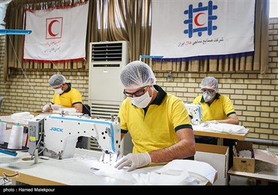خط تولید ماسک در کارخانه نساجی جمعیت هلال احمر
