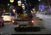 ضدعفونی و گند زدایی معابر شهر توسط قرارگاه مدافعان سلامت قزوین + تصاویر