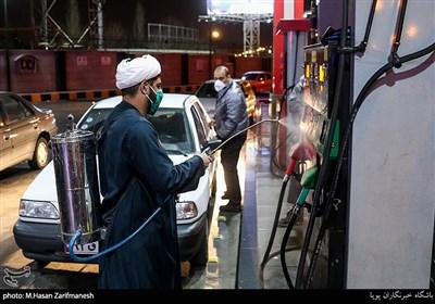 ضدعفونی غرب تهران توسط بسیج مردمی